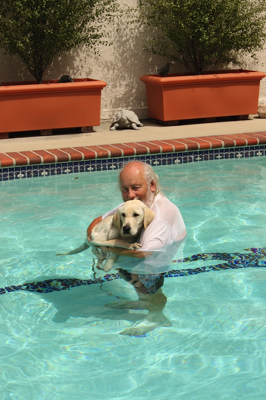 Mike With Dreamer In The Pool