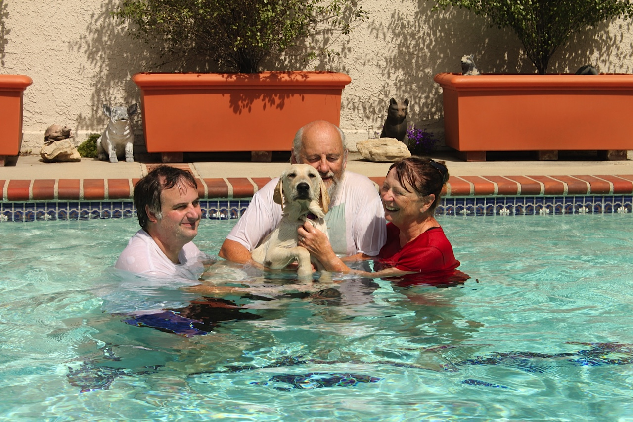 Tim, Mike, And Brenda With Dreamer In The Pool
