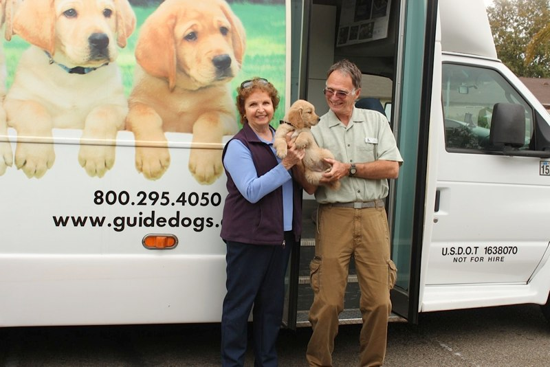 Pat with Miranda at the Puppy Truck