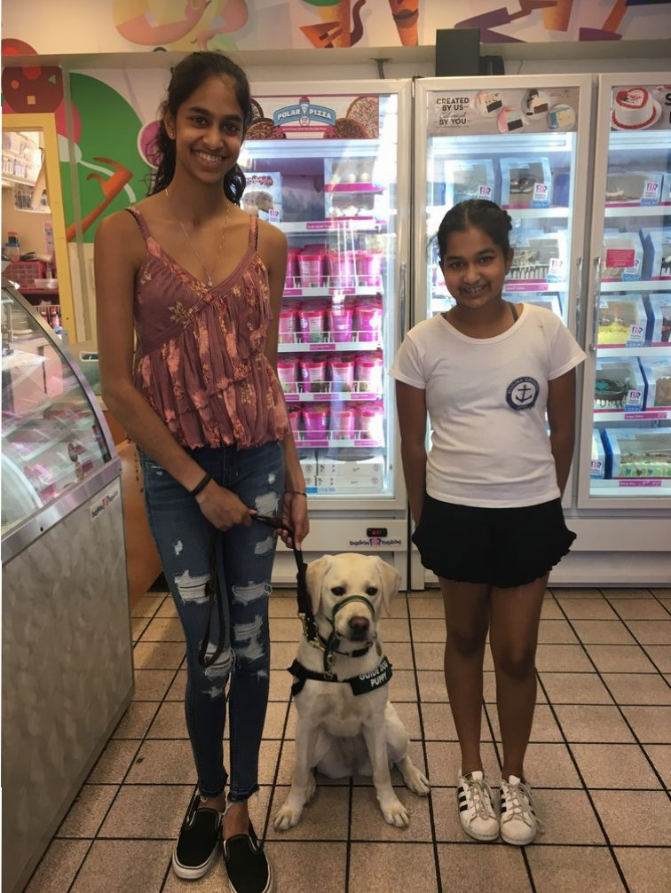 Shriya and Avanthi with Zola at the Ice Cream Parlour