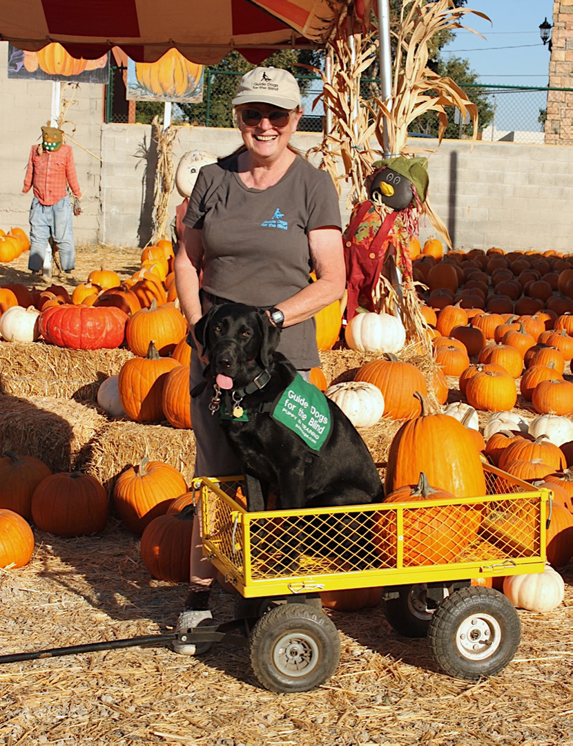 Brenda with Dash at the Pumpkin Patch