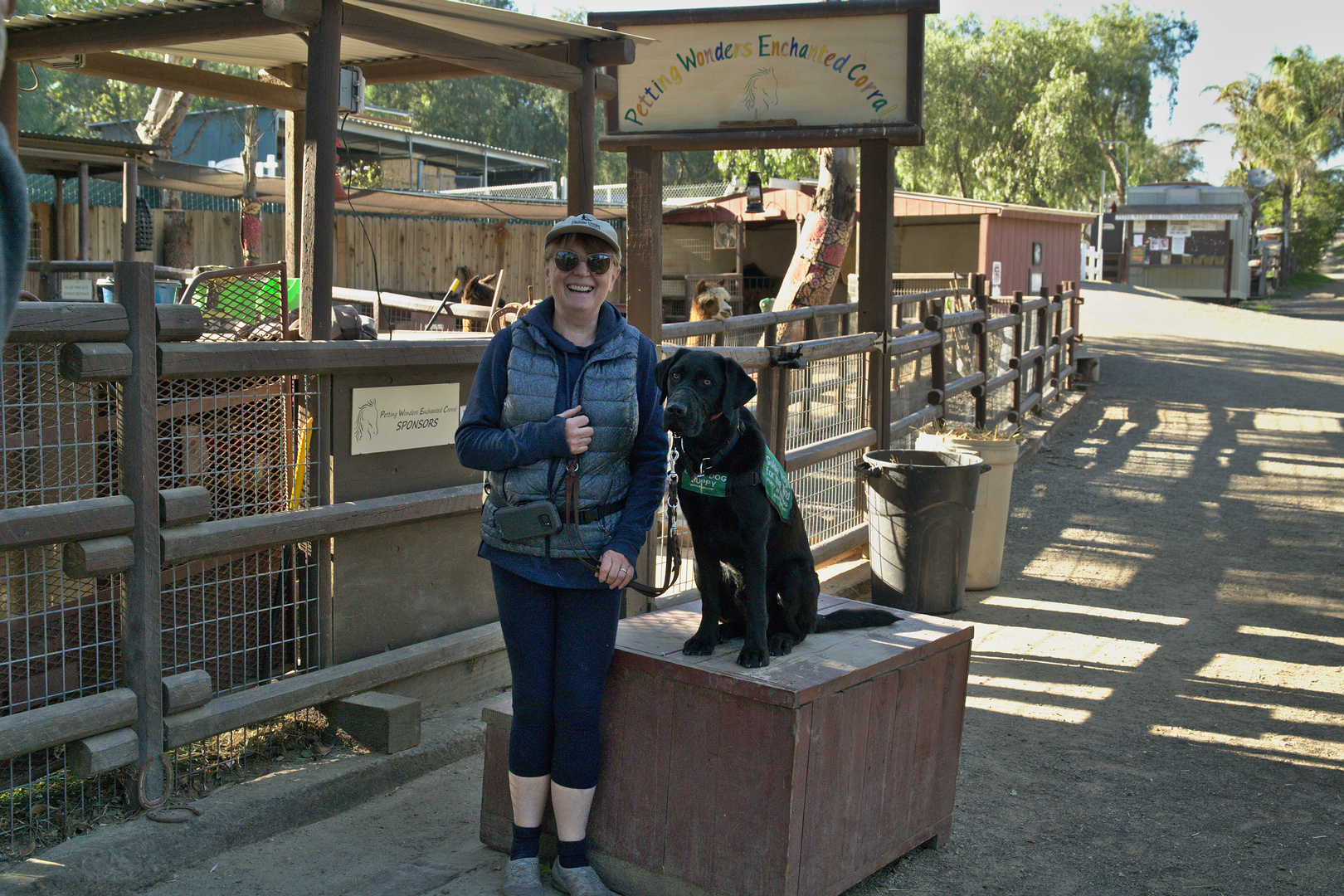 Brenda with Dash at the petting zoo