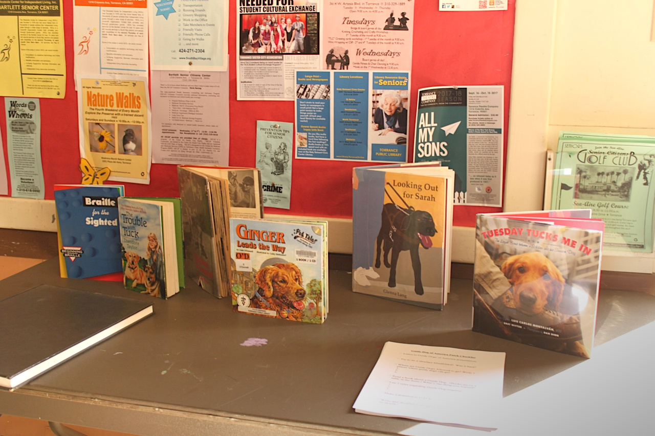 Guide dog books display by Girl Scout Evelyn