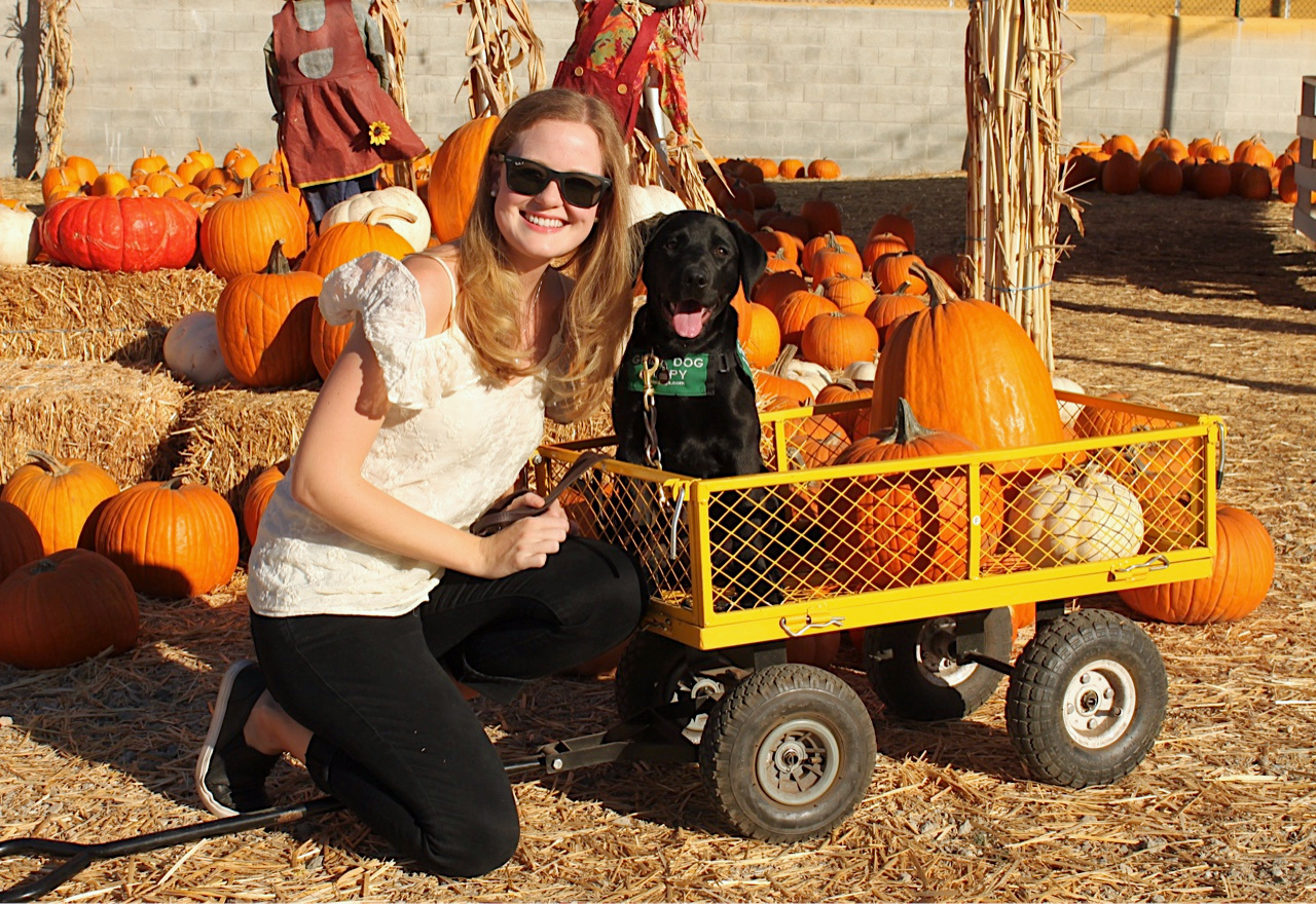 Kelsea with Jess at the Pumpkin Patch, in record temperature