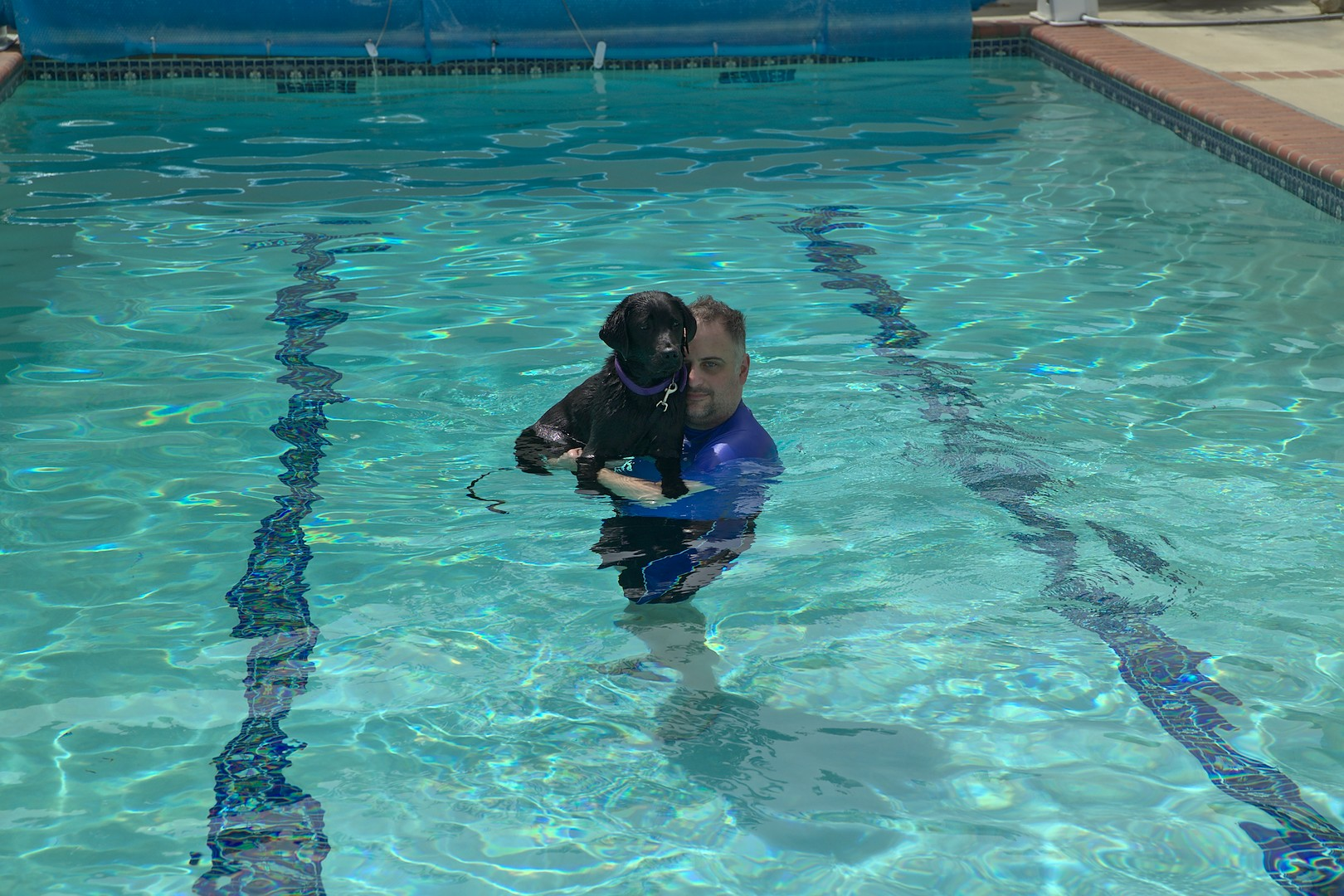 Tim with Crescent first swim