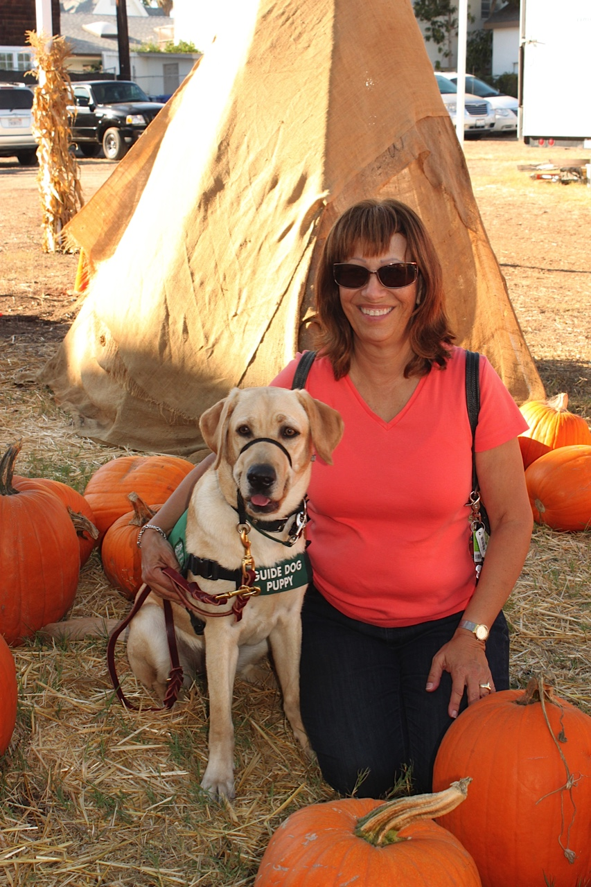 Karen with Asia at the pupmpkin patch