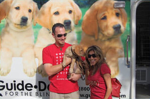 David and Melissa with Greta at the Puppy Truck