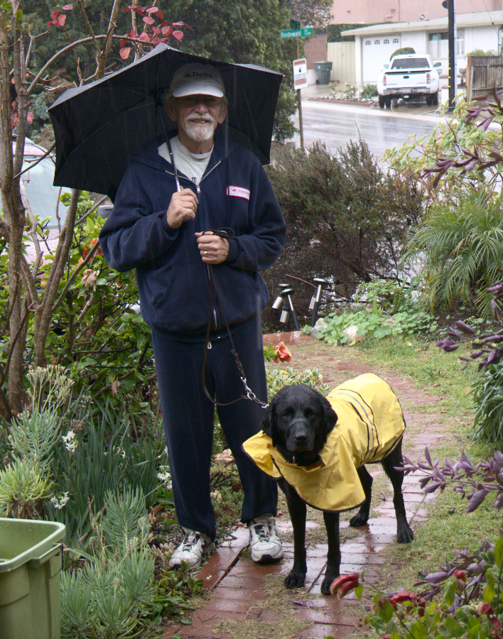 Tom with Calypso in the rain