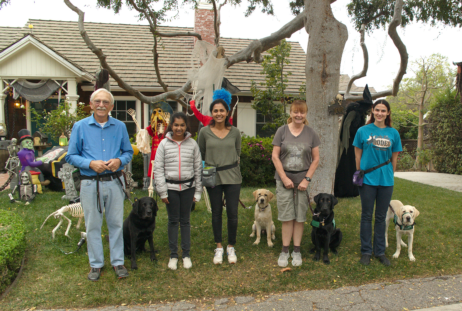 Tom with Calypso, Avanthi & Daya with Dover, Brenda with Dash, Elizabeth with Milo