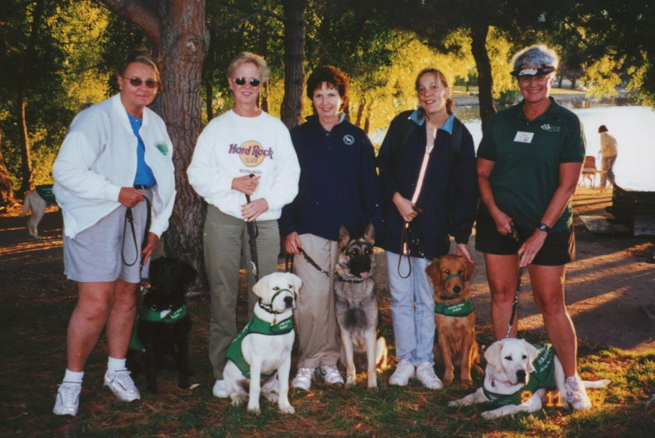 Judy with Cobalt, Gail with Tommy, Pat with Dara, Becca with Pandita, Trish with Duman - Westsides at Fun Day