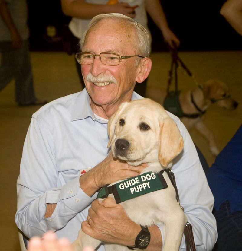 Tom with Velma at Paws of Fame 2016-10-29 Puppy Raiser Appreciation luncheon