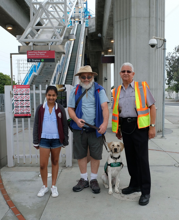 LASW Travel Day, our pups ride the Metro rail to Olvera St.