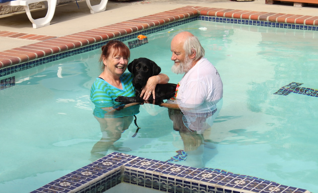 Brenda and Mike with Dash in the pool 2017-07-21