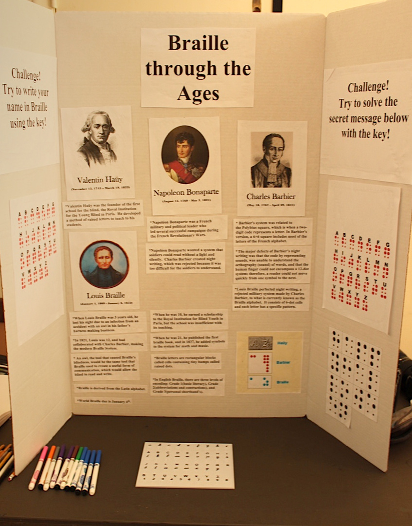 Braille display by Girl Scout Evelyn