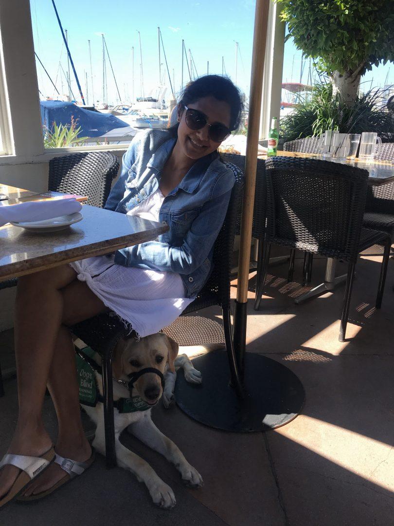 Daya with Dover at the marina
