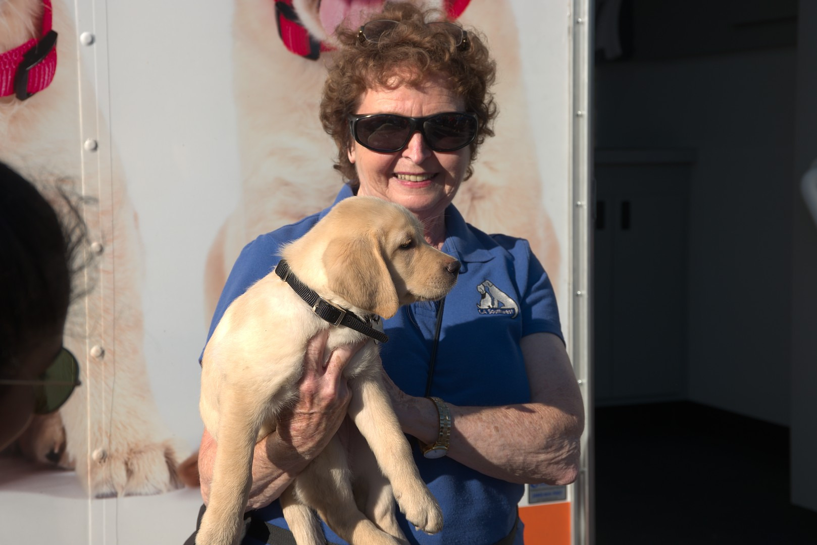 Pat with Mesa at the Puppy Truck