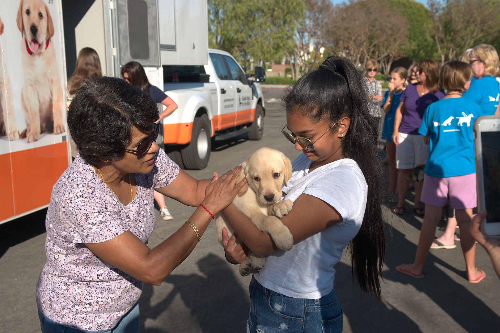 Avanthi with Mesa at the Puppy Truck