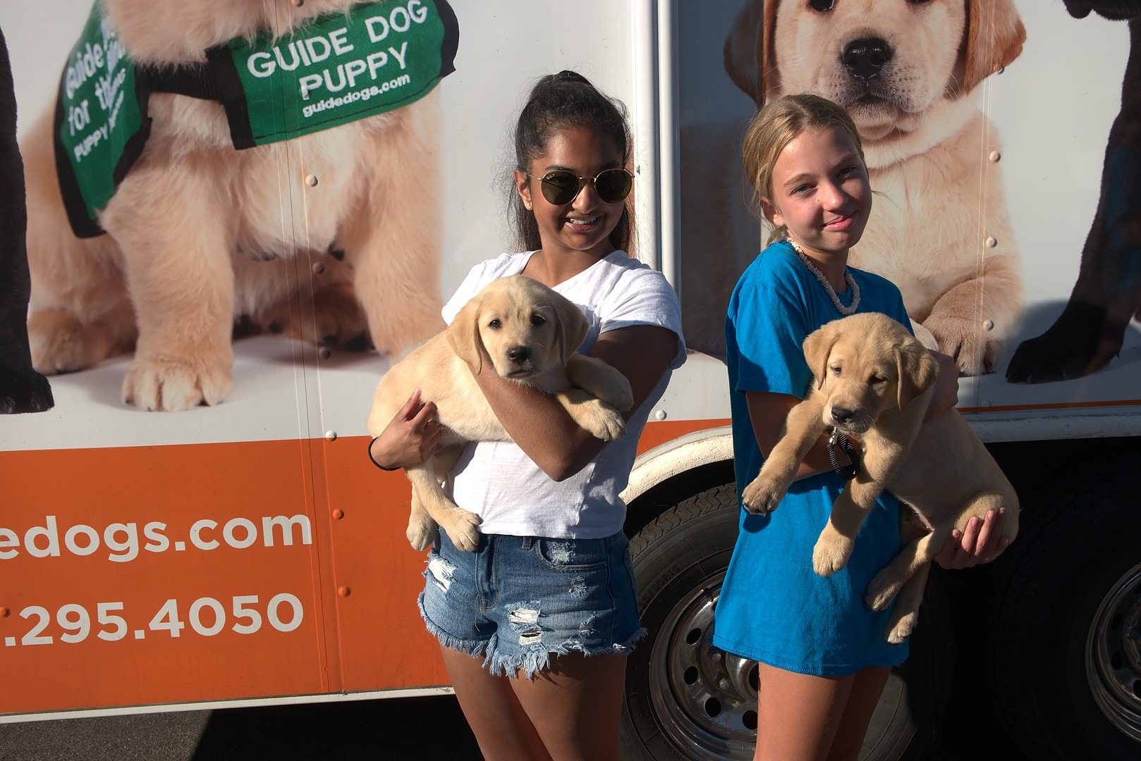 Avanthi with Mesa and sibling Moon at the Puppy Truck
