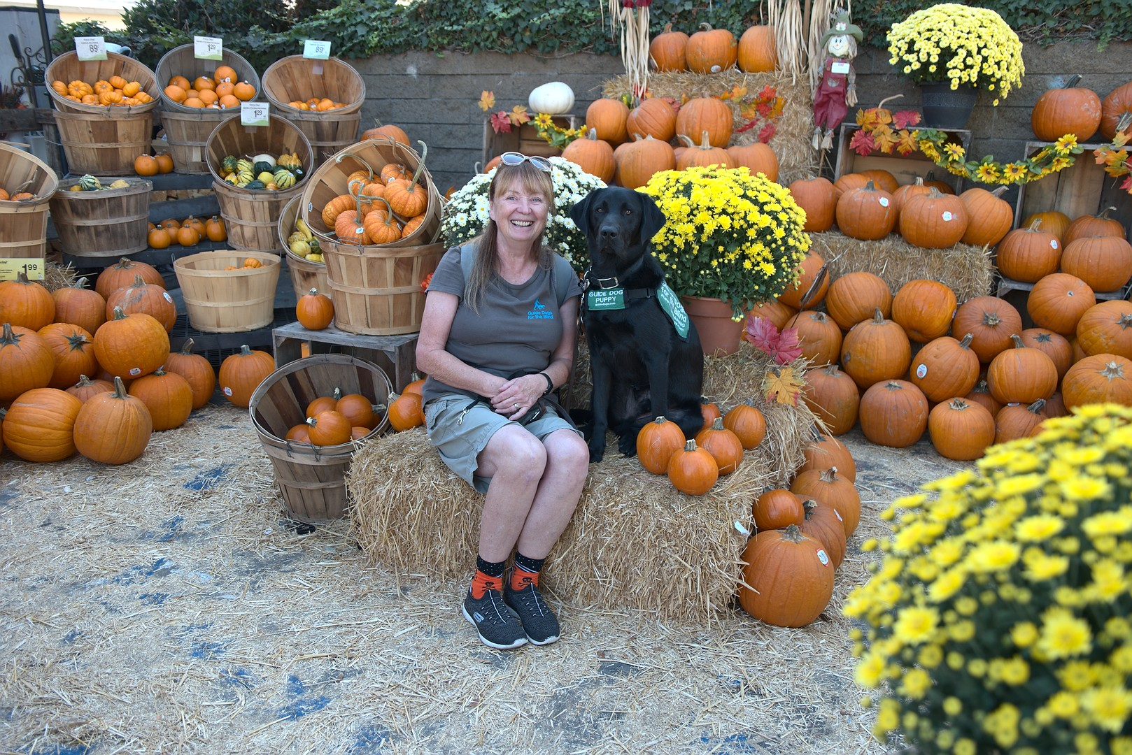Brenda with Macklin at the Pumpkin Patch