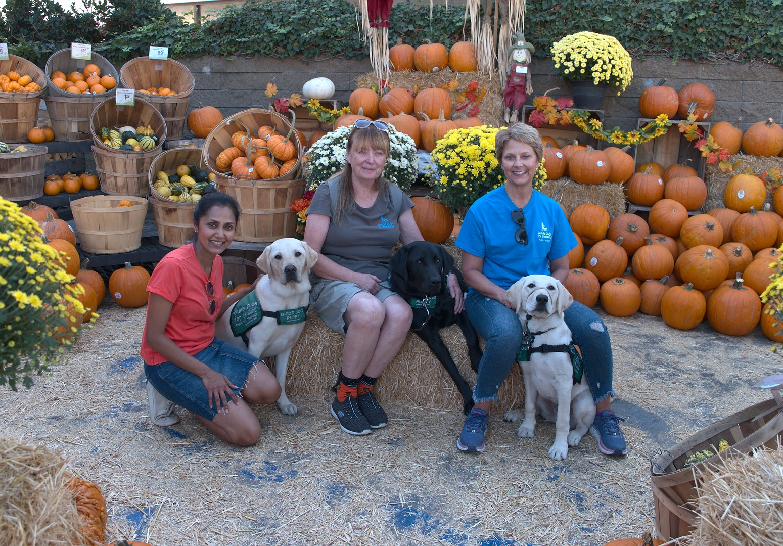 Daya with Kazuki, Brenda with Macklin, Lisa with Emery at the Pumpkin Patch