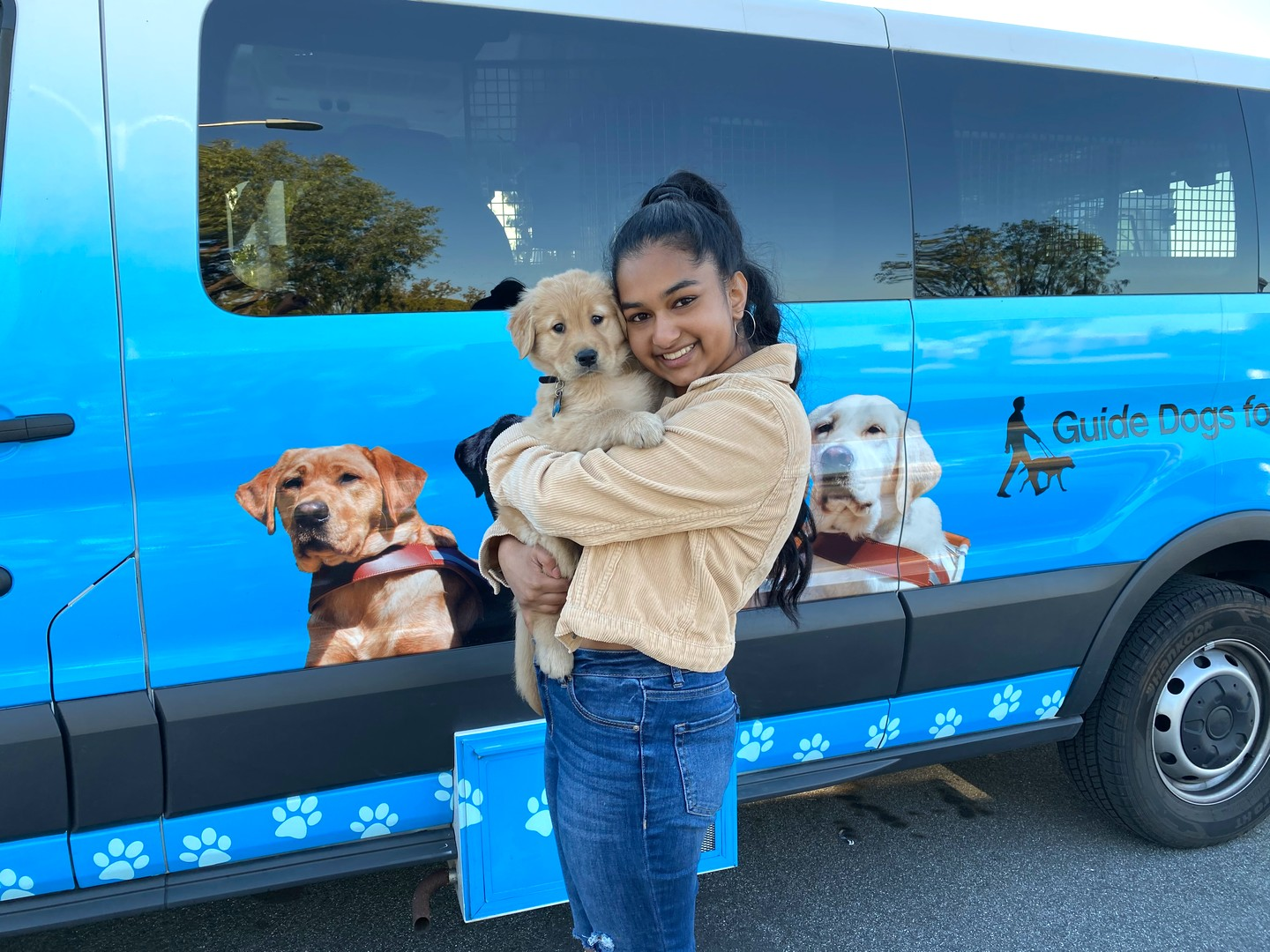 Avanthi with Puff at the puppy truck