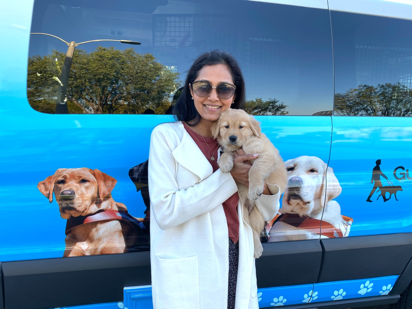 Daya with Puff at the puppy truck