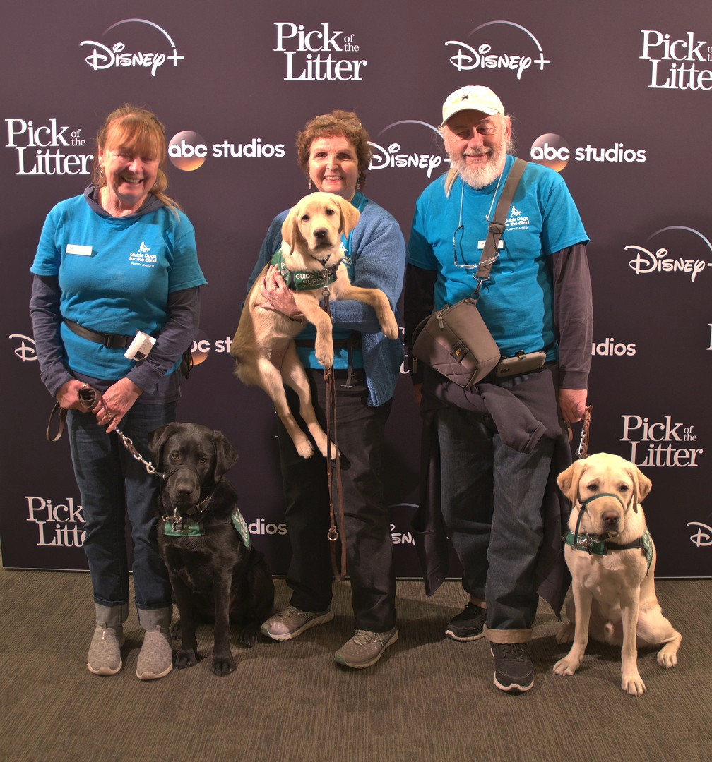 Brenda with Macklin, Pat with Mesa, and Mike with Kazuki at first 'Pick of the Litter' series premier