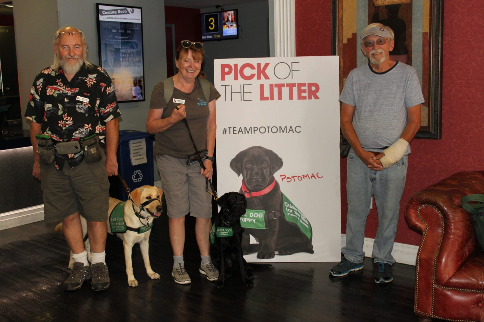 Mike with Dover, Brenda with Belfast, and Tom at viewing of first 'Pick of the Litter' movie